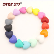 TYRY.HU 50pcs Big Size Loose Silicone Heart Beads Baby Teether For DIY Jewelry Making Necklace BPA Safe Kids Teething Chew Toys(China)