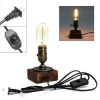 Bảng Retro Ánh Sáng Ổ Cắm Duy Nhất Đầu Giường Bàn Lamp Cơ Sở Gỗ Sáng Tạo Vintage Edison Sáng Bulb