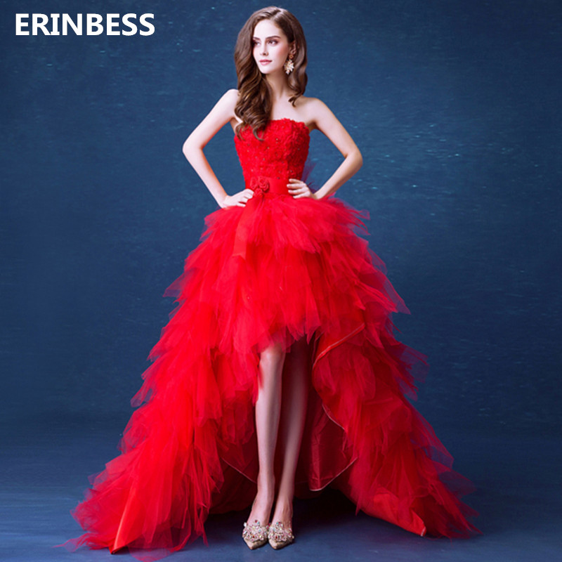 High/Low   Prom     Dresses   2019 Red Tulle Evening   Dresses   Long Party   Dresses   Sexy Strapless   Prom     Dress   Lace-up Back Robe De Soiree