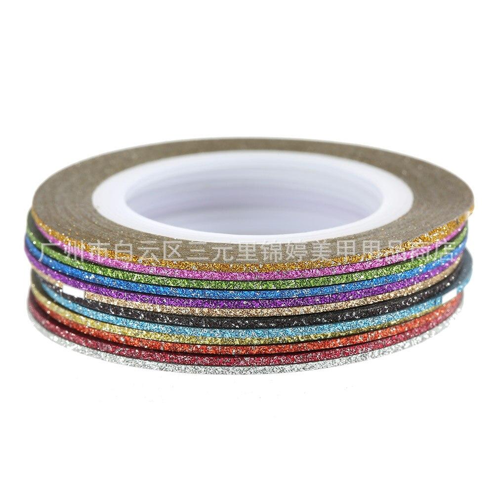 1mm 12 Farbe Glitter Nail Striping Linie Klebeband Aufkleber Set ...