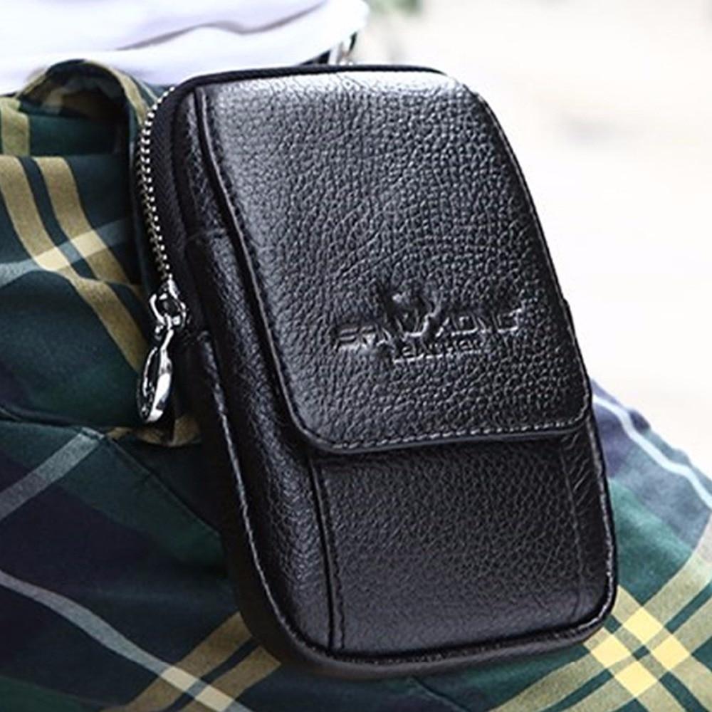 Мода Мъже от естествена кожа истински телешка портфейла кука Fanny клетка / мобилен телефон дело чанта хип пояса талията пакет чанта монета чанта торбичка  t