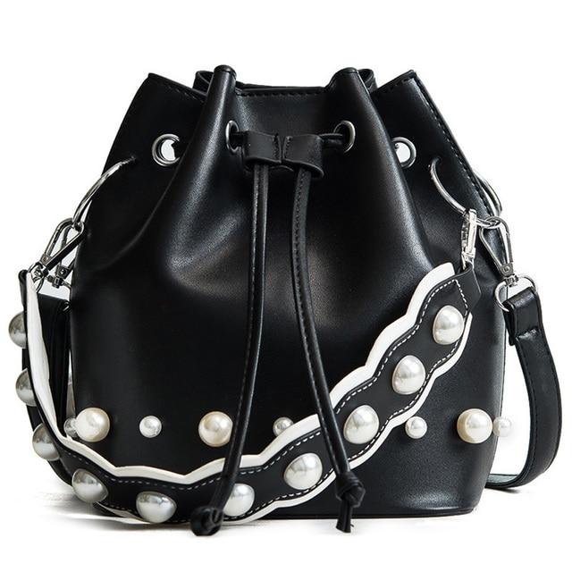 d7269d2649eca SFG HOUSE New Women Messenger Shoulder Crossbody Bag Purse PU Leather  Handbag Pearl String Satchel Totes Bucket Bags Brown White-in Top-Handle  Bags ...
