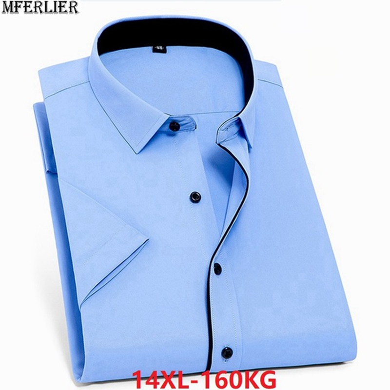 Summer Large Size Big Dress Shirts Wedding Men Office Shirt Short Sleeve Formal Business Plus 10XL 5XL 9XL 10XL 12XL 54 56 58 60