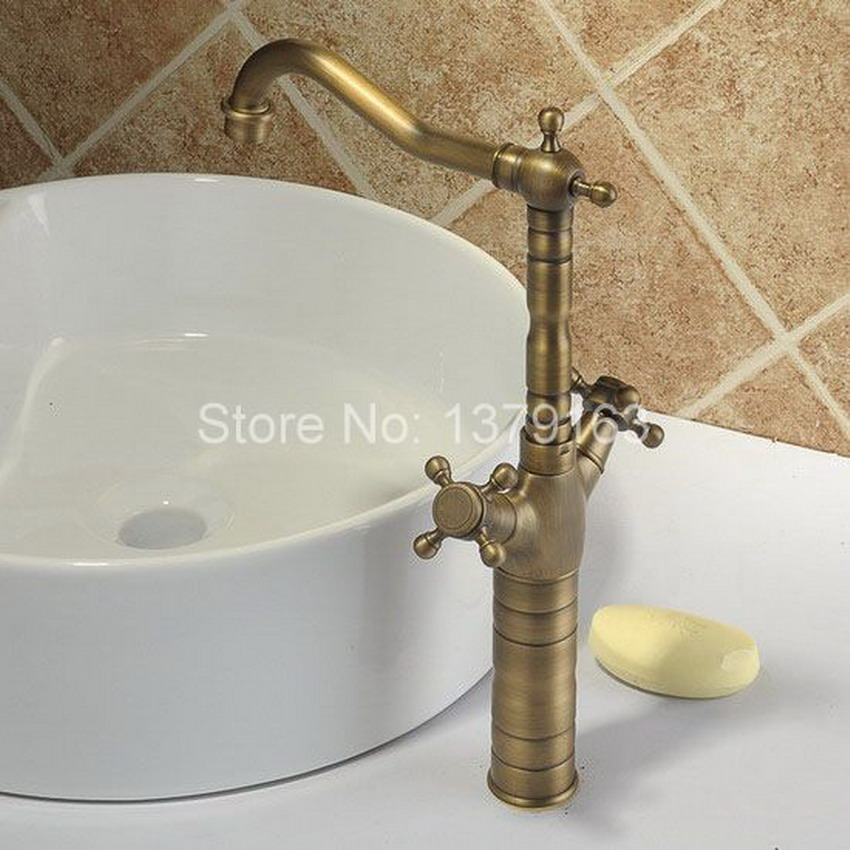Antique Brass Dual Cross Handles Swivel Kitchen Bathroom Sink Basin Faucet Mixer Taps  anf003 antique brass dual cross handles swivel kitchen bathroom sink basin faucet mixer taps anf003