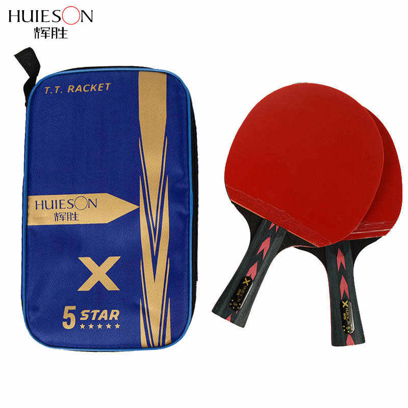Huieson 2Pcs Upgraded 5 Star Carbon Table Tennis Racket Set with Table Tennis Bag Lightweight Powerful Ping Pong Paddle Bat
