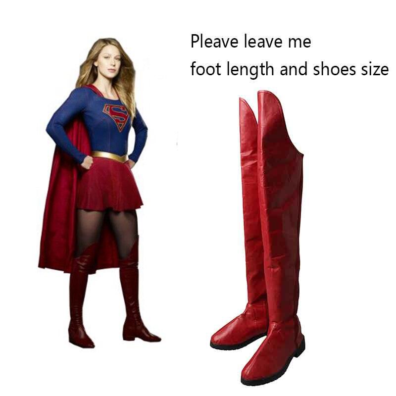 Supergirl Cosplay Boots Kara Zor El Danvers Boots Red Shoes Superhero Halloween Carnival Cosplay Costume Accessories
