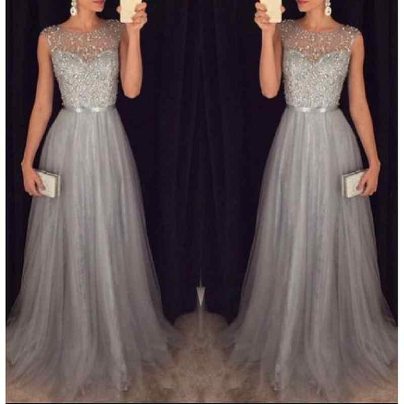 Abiti Da Cerimonia Foto.Modest Grey Silver Beading Prom Dresses 2020 A Line Tulle Vestido
