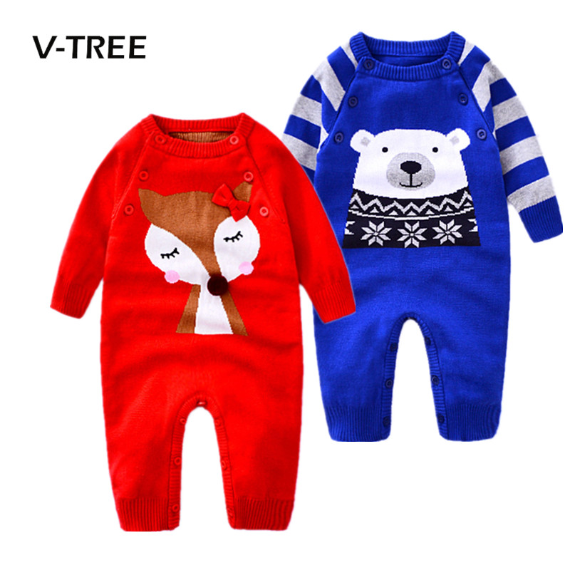 V-TREE Baby Rompers Winter Thicken Clothes Toddler Newborn Boys Girls Warm Romper Knitted Sweater Christmas Outwear 2017 baby boys girls long sleeve winter rompers thicken warm baby winter clothes roupa infantil boys girls outfits cc456 cgr1