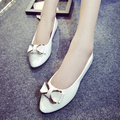 Plus Size Women Wedding Shoes Woman Bowtie Slip on Flats White Patent Leather Ballet Flats Ladies Loafers Spring Autumn 3352