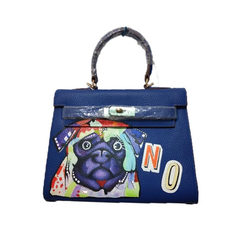 YCUSTBAG Luxury Handpainted Graffiti Paintings Blue Dog Pattern Gifts Genuine Leather 28CM Gold Hardware Birthday Present цена 2017