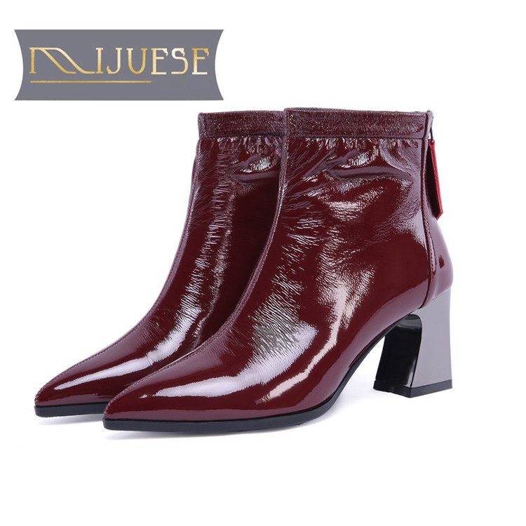MLJUESE 2019 women ankle boots patent leather slip on pointed toe wine red color high heels women martin boots size 33-43 czrbt retro style pointed toe genuine leather women ankle boots high heels 6 5cm patent leather deep color women casual shoes