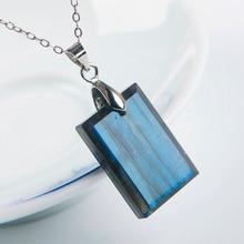 Genuine Natural Labradorite Strong Blue Light Pendant Gemstone Women Men 22x15x6mm Rectangle Crystal Moonstone AAAA