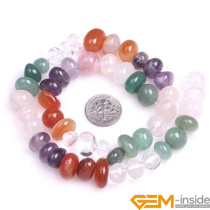 8x12mm Freeform Natural Mixed Quart Beads ( Amethysts,Rose Quart,Carnelian,Prehnit e,Whi ...