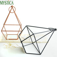 2PCS Nordic Geometric Candle Holder Ornament Candlestick Matching Small Tealight Minimalist Wedding Home Decoration Candle Stand