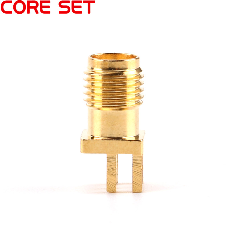 10Pcs SMA Female Jack Connector For 1.6mm Solder Edge PCB Straight Mount Gold plated RF Connectors Receptacle Solder