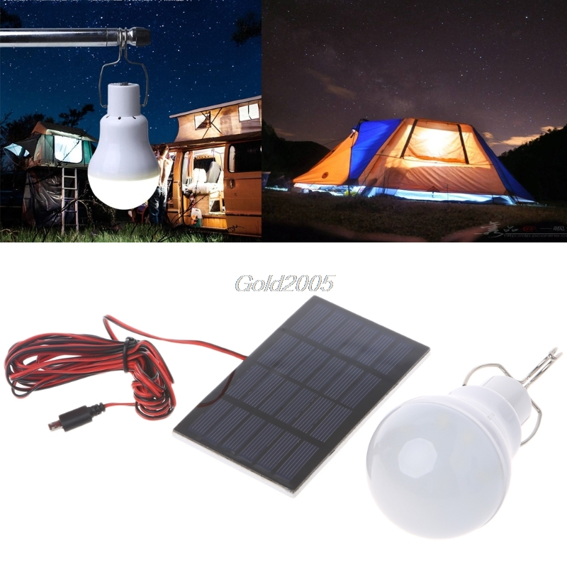 Portable Solar Panel Power LED Bulb Lamp Outdoor Camp Tent Fishing Light 15W G07 Drop ship
