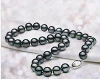 Jewelry Tahitian round black pearl necklace 18inch 10 11mm 925 silver