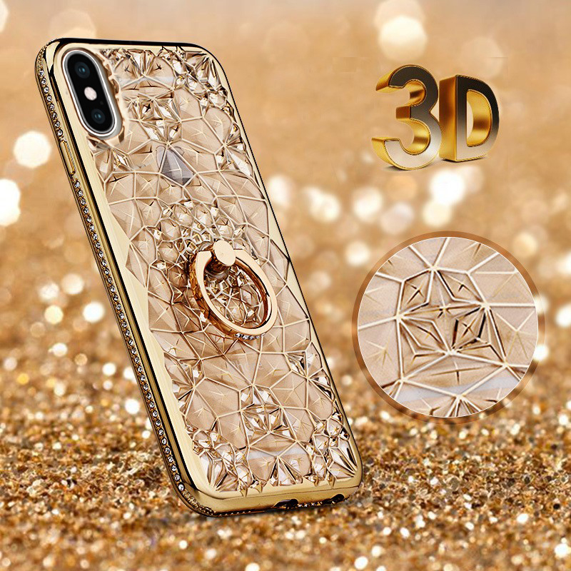 LANCASE Phone Cases for <font><b>iPhone</b></font> X Case <font><b>Glitter</b></font> Crystal Rhinestone Bling Coque <font><b>Hoesje</b></font> Case Luxury Diamond Slim Thin Kickstand image