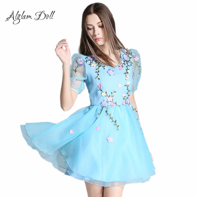 481b731ec75f Alglam Doll Appliques Ball Gown Skater Dress V-Neck Half Puff Sleeve Sexy  Club Party Mini Dress High Waist Elegant Cute Vestido