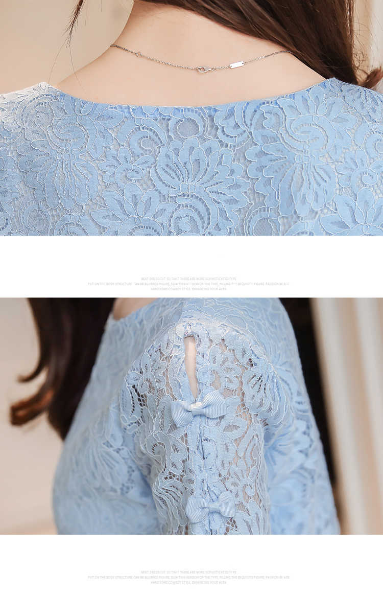 New 2018 夏レースファッション女性ブラウスシャツシフォンエレガントな白色光ブルー半袖女性 0361 Blusas トップス 40