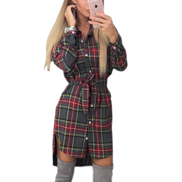 2017 Explosions Autumn Fall Asymmetrical Vintage Dresses Winter Women Plaid Print Dress Casual Shirt Dress Mini Vestidos GV426
