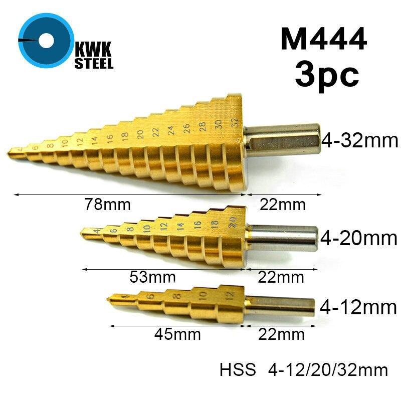 HSS Titane Enduit Étape Foret Hex 6.35mm 1/4 tige En Métal Bois De Forage Ensemble Métrique Spirale Flûte Trou Cutter 4-12/20/32mm