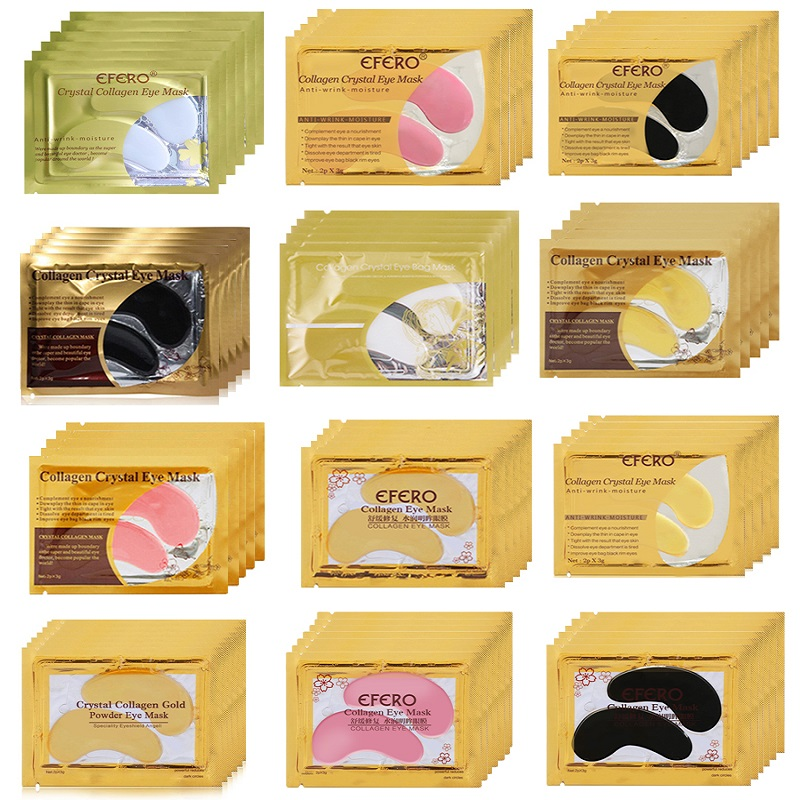 Gold Crystal Collagen Eye Mask Eye Patch Anti-Aging Wrinkle Face Mask For The Eye Dark Circle Remover Gel Eye Patches Skin Care(China)