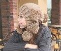 5 outono inverno chapéus para mulheres gorros gorros skullies de malha de pele de coelho chapéu de lã quente chapéus para mulheres
