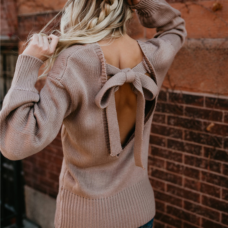 Fashion Women Sexy Sweater Backless Bow Kawaii Pullover Autumn Winter Long Sleeve O-Neck Knitted Solid Casual Jumper
