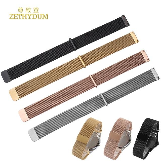 c62add0f98e Milanese maille en acier inoxydable bracelet Smart bracelet Magnétique  Boucle montre-bracelet sangle pour moto