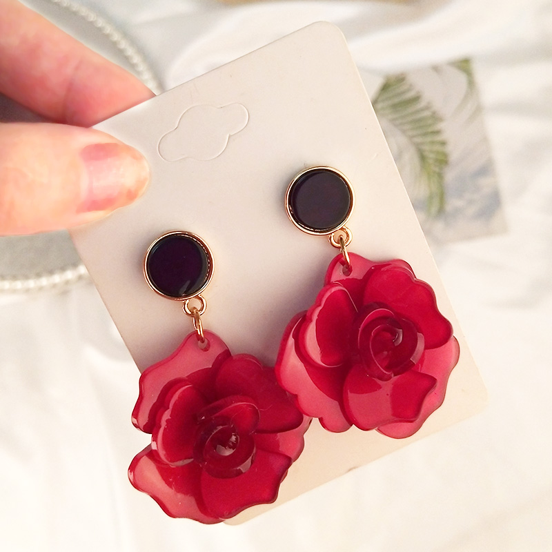 Guanlong Vintage Elegant Long Acetic Acid Acrylic Flower Earrings for Women Metal Acetate Resin Earings Fashion Jewelry Brincos (3)