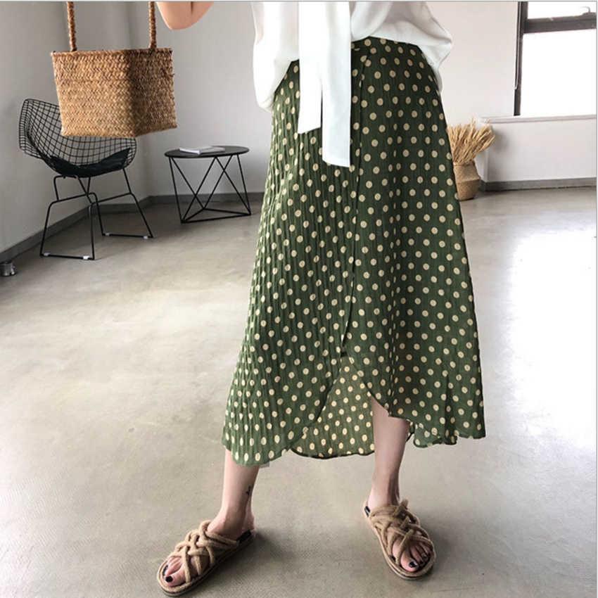 a6c6d794f62 Новая мода Винтаж Pokla Dot шифоновые юбки женские летние 2018 с высокой  талией асимметричные юбки женские