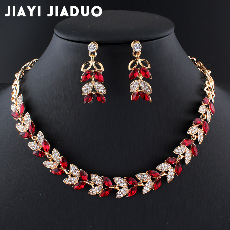 Jiayijiaduo New Wedding Jewelry Sets For Charming Women Dresses Dating Accessories Green Glass Crystal Necklace Earrings Sets #4