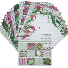 24Sheets/Pack Lake Style Flamingo Flower Pattern Scrapbooking Paper Handmade DIY Craft Paper Craft Background Pad(China)