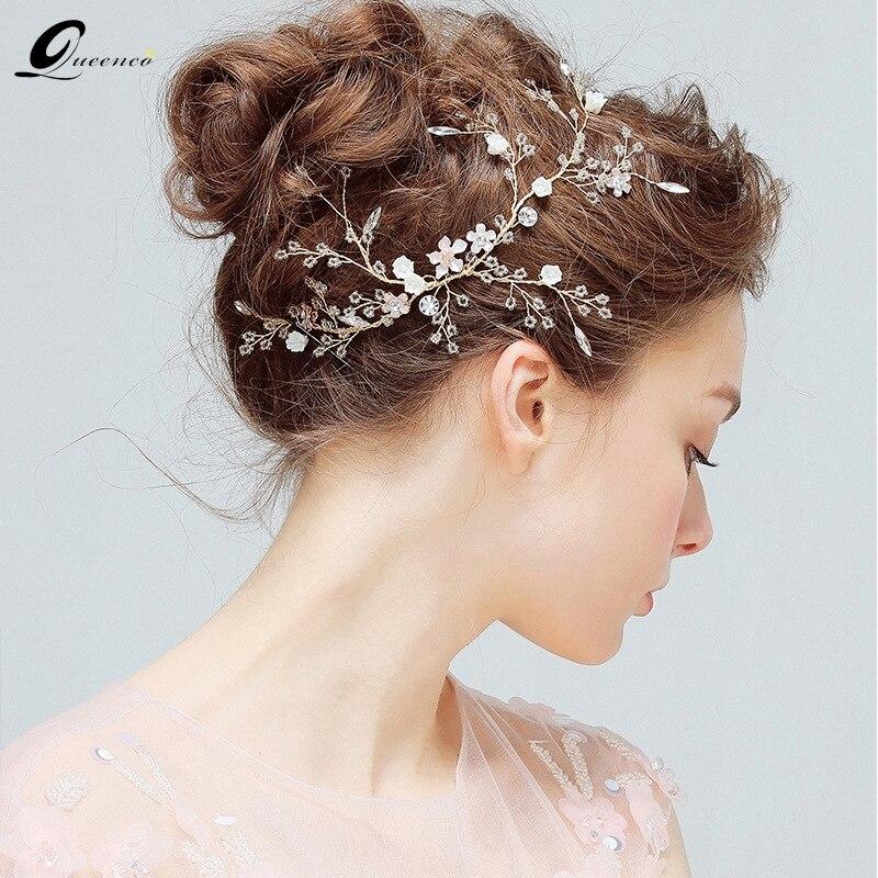 Neue Hochzeit Tiaras Braut Blume Haar Accessoires Klare Kristall