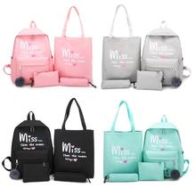 4pcs/set Letter Print Canvas Women Backpack Fashion Shoulder