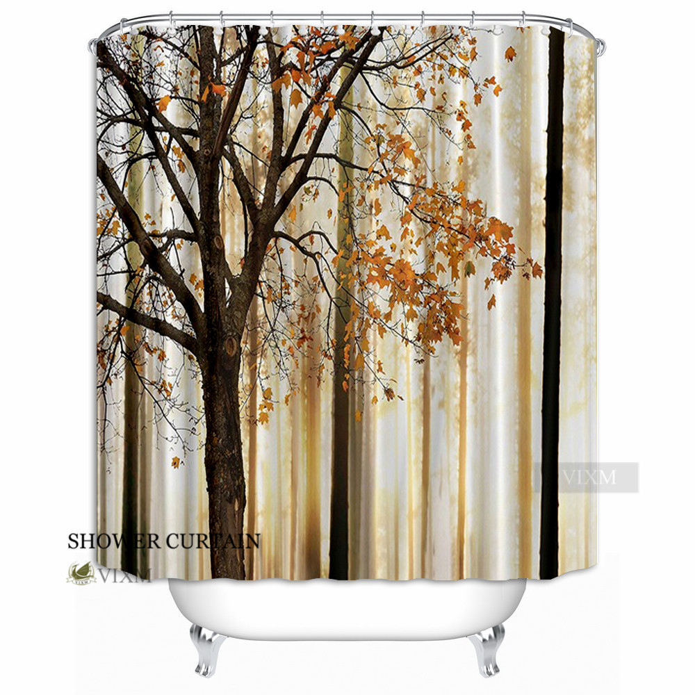 Merveilleux Vixm Home Fall Trees Print Shower Curtain Orange Ivory Brown Beige Mom Gift  Ideas Polyester Fabric Bath Curtain Hooks Included In Shower Curtains From  Home ...