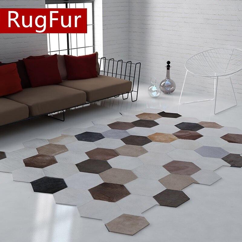 Tapis cuir personnalisé tapis créatif gris pentagonal