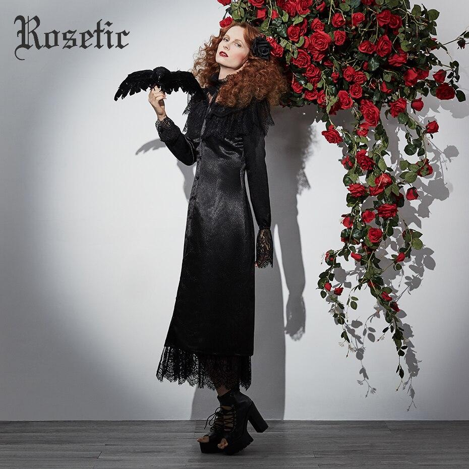 Rosetic Gothic Maxi Dress Black Women Autumn Mesh Lace Medieval Patchwork Retro Fashion Elegant Prom Party