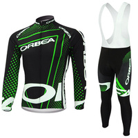 2017 Fluor Green ORBEA cycling jersey bike pants set Ropa Ciclismo mens thermal fleece winter cycling wear bicycle Maillot pant