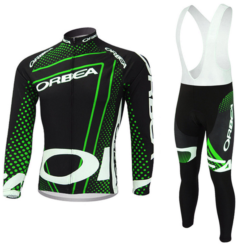 2017 Fluor Green ORBEA cycling jersey bike pants set Ropa Ciclismo mens thermal fleece winter cycling wear bicycle Maillot pant teleyi team cycling outfits mens ropa ciclismo long sleeve jersey bib pants kits bicycle jacket trousers set red black