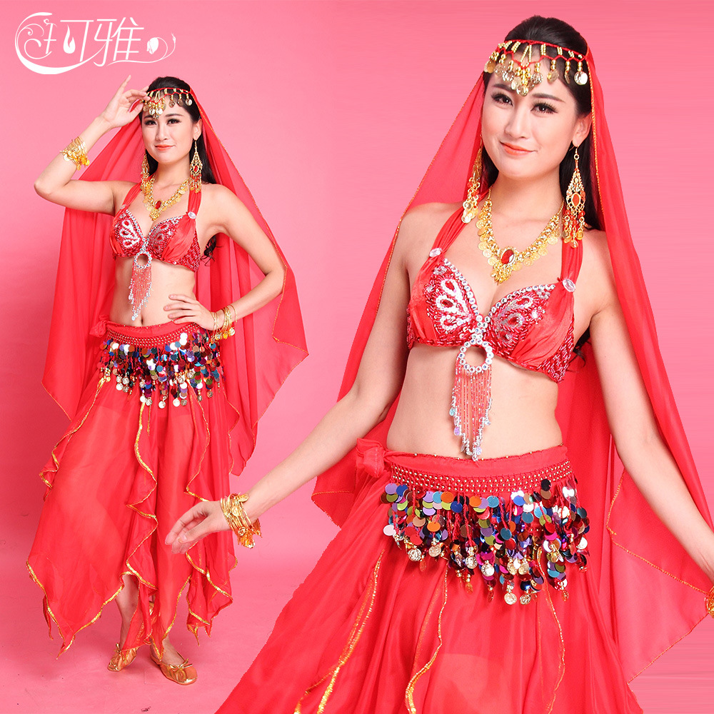 Sequined Belly Dance Belt Bra hip scarf Pants Veil Bellydance Costume Set Indian Traje Danza Del Vientre Bollywood Costumes L158