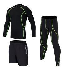 Neue 2017 Fitness Männer Sets Camouflage Compression Shirts + Leggings Basisschicht Crossfit Marke Langarm T-shirt Kleidung