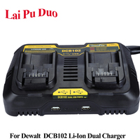 DCB102 Li ion Battery Dual Port Charger USB 3.0A For Dewalt 10.8V 12V 14.4V 18V 20V DCB101 DCB102 DCB105 DCB200 DCB140