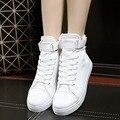 2016 НОВОЕ Прибытие Высокого Топ Женщины Повседневная Обувь Холст Женщин шнуровке Студент Девушка Белый Черный Красный Классический Крюк & loop Обувь 35-40