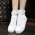 2016 Chegada NOVA High Top Mulheres Sapatos Casuais Sapatos de Lona Feminino Lace-up Da Menina do Estudante Hook & loop Sapatos Branco Preto Vermelho Clássico 35-40