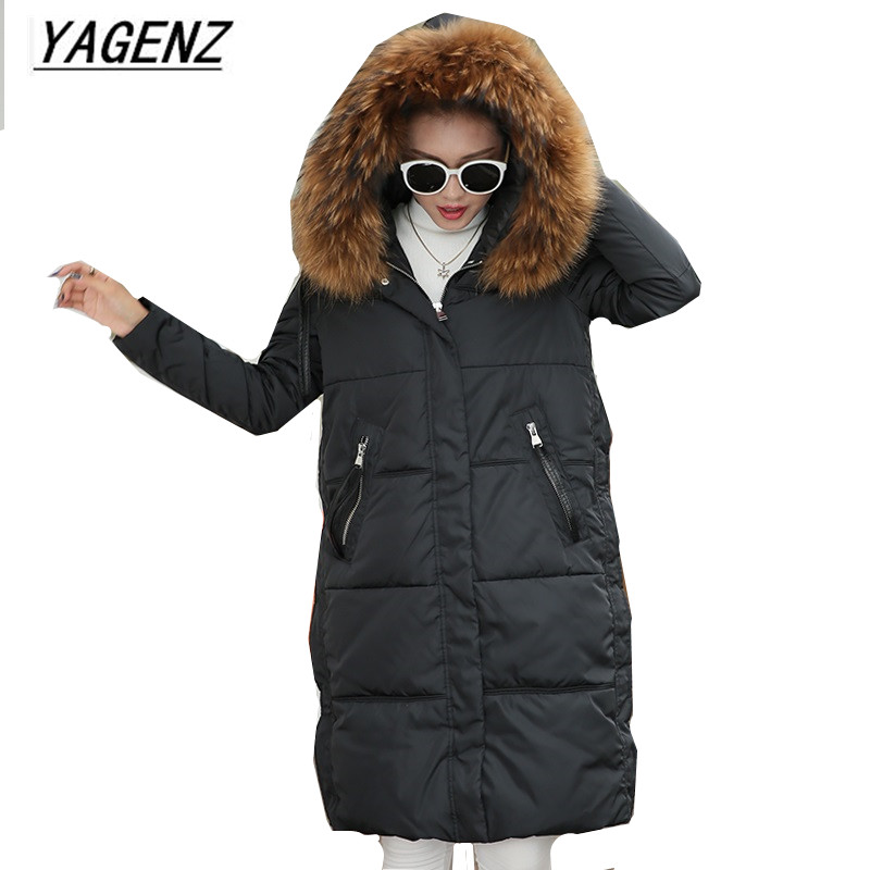 Large size Winter Parkas Women Hooded Jacket Coats Korean Loose Thick Big fur collar Down Long Overcoat Casual Warm Lady Jackets winter jacket women 2017 big fur collar hooded cotton coats long thick parkas womens winter warm jackets plus size coats qh0578