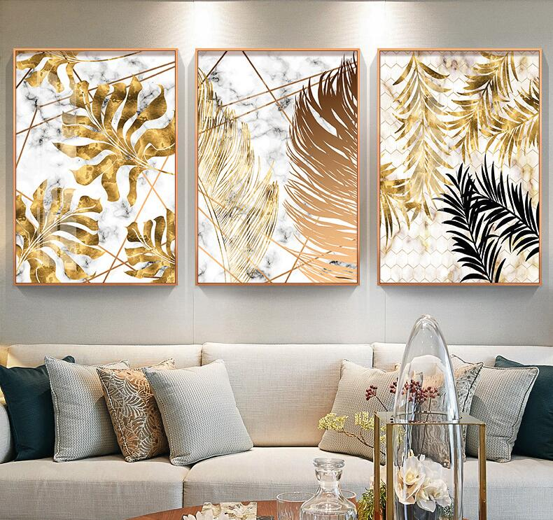 Us 2 1 Nordic Plants Golden Leaf Wall Art Canvas Painting Art Posters And Prints Wall Pictures For Living Room Frameless In Painting Calligraphy