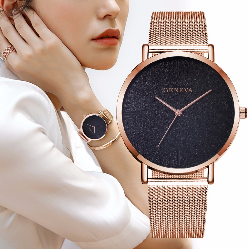 Hot Fashion Women Men Geneva Watches Luxury Unisex Stainless Steel Mesh Quartz Wrist Watches Clock Dropshipping