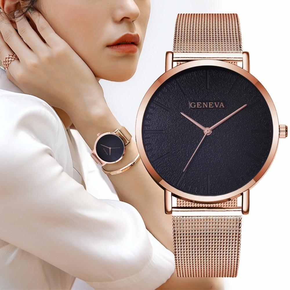 Hot Fashion Women Men Geneva Watches Luxury Unisex Stainless Steel Mes